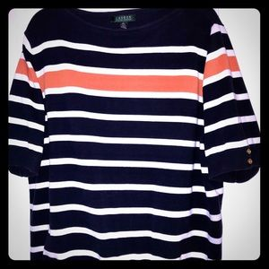 Ralph Lauren polo short sleeve navy stripe sweater